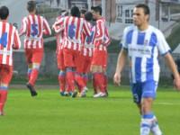 Los jugadores del Atlético B celebran un gol frente al Real Avilés.