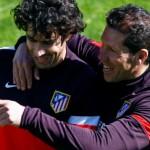 Simeone y Tiago en un entrenamiento.