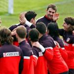 Jugadores del Atletico de Madrid en un entrenamiento
