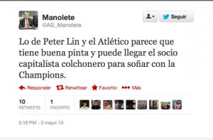 Tuit de Manolete sobre Peter Lim