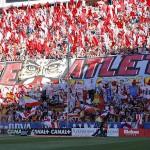 El tifo del Frente Atlético contra el Barcelona.