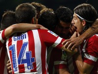 El Atletico celebra un gol en el Bernabeu